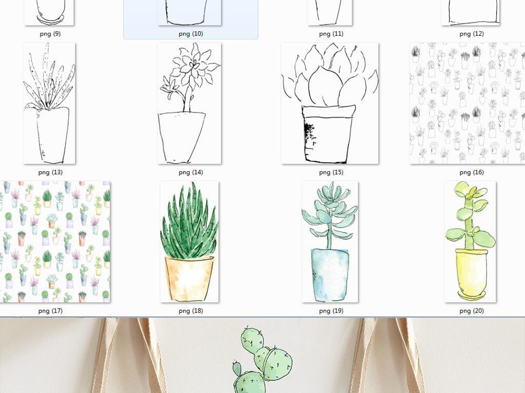 水彩手绘植物仙人掌图案png 矢量
