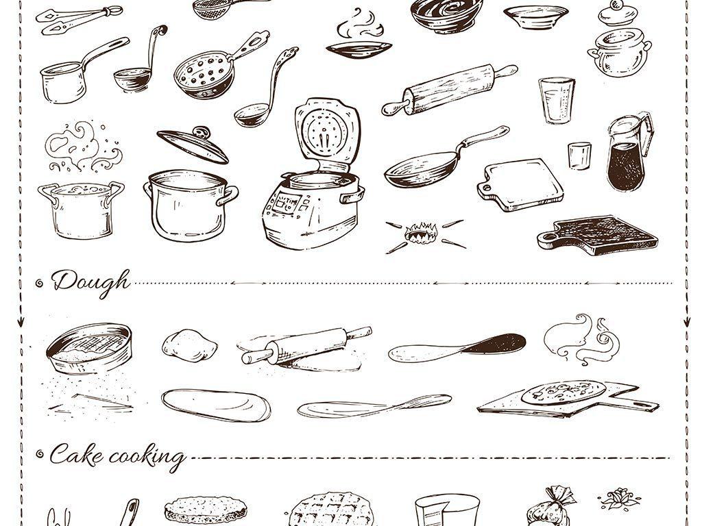 线描手绘小清新美食水果图案矢量素材