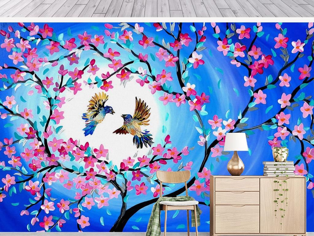 手绘水彩桃花月亮花鸟油画背景墙