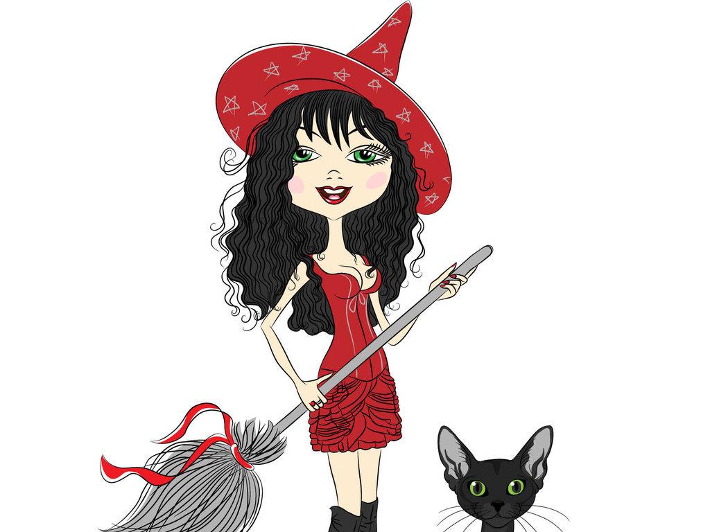 魔法少女卡通可爱女孩手绘设计素材
