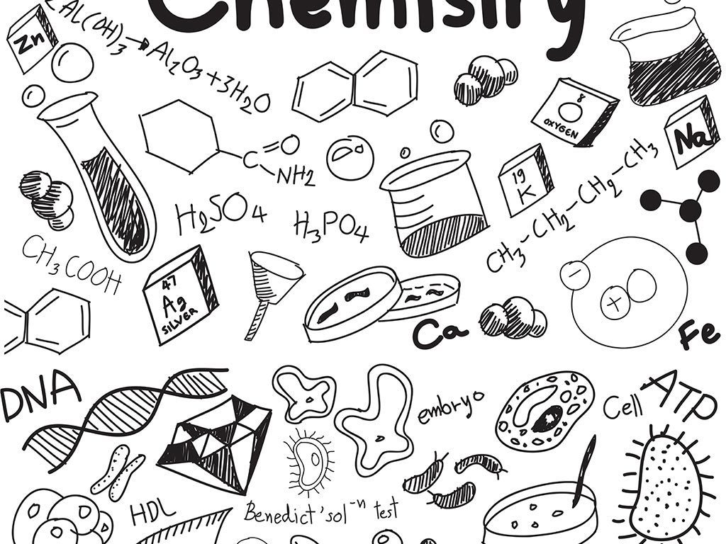 学校手绘涂鸦数学物理几何教育图标
