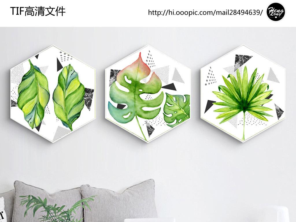 背景墙|装饰画 无框画 植物花卉无框画 > 几何抽象水彩手绘北欧简约