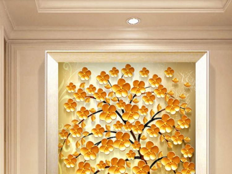 欧式复古金色发财树抽象北欧玄关走道装饰画