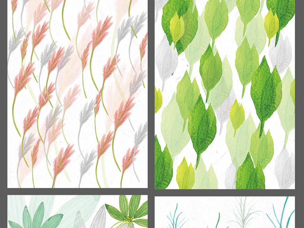 手绘色彩树叶热带植物装饰画背景墙图片设计素材_高清
