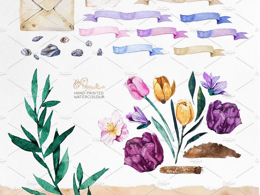 唯美花瓶花卉水彩手绘海报卡片装饰画素材