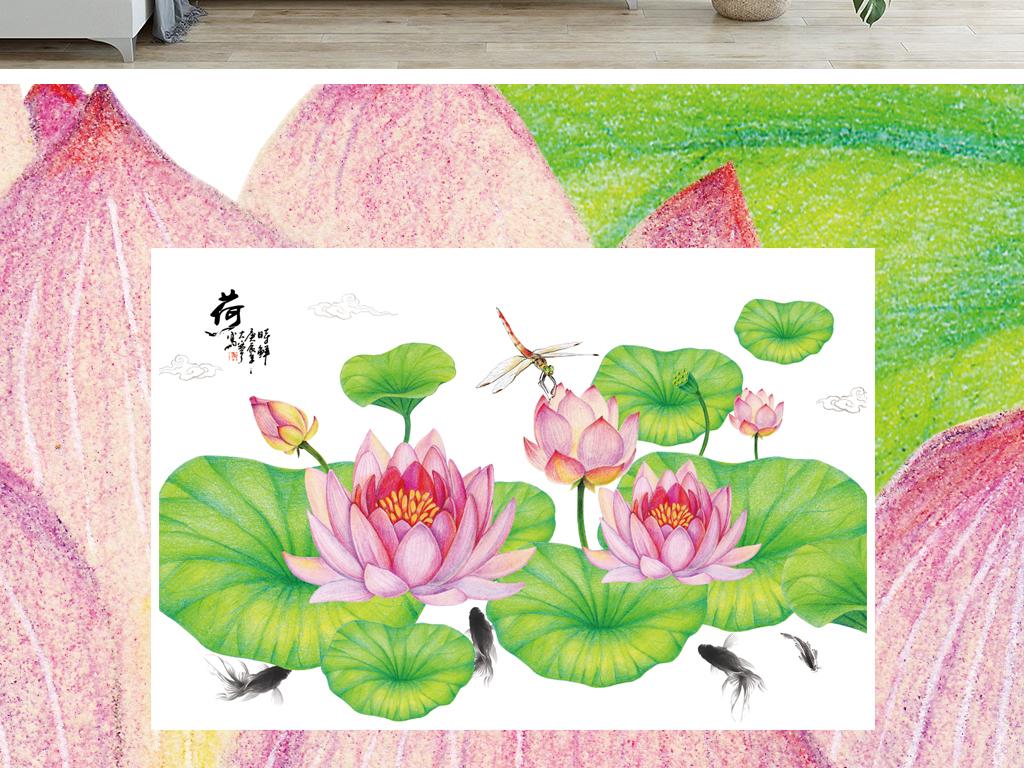 手绘荷花背景墙壁纸笔画图片设计素材 高清模板下载 252.40MB 中式