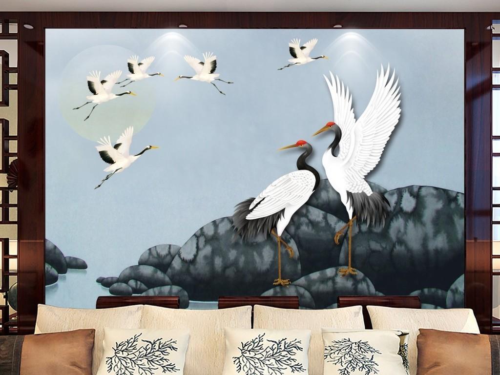 工笔仙鹤手绘白鹤电视背景墙装饰画