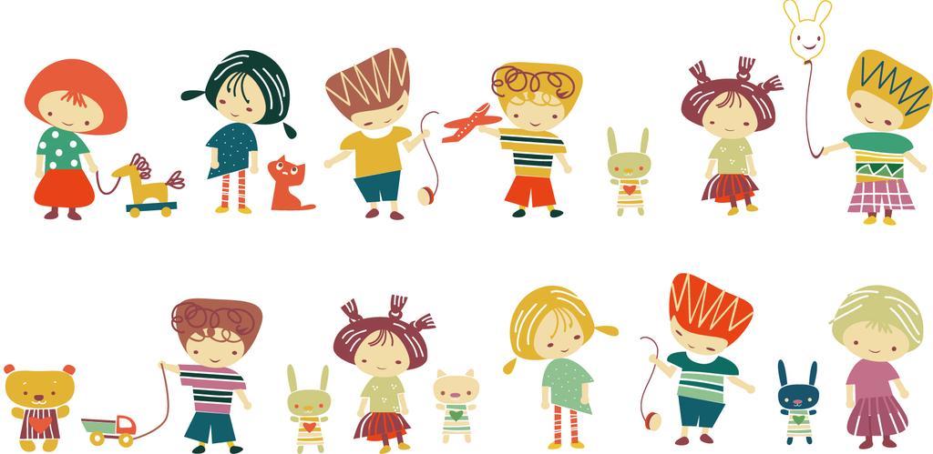 2018可爱手绘儿童玩耍场景插画矢量素材图片下载ai素材 卡通边框图片