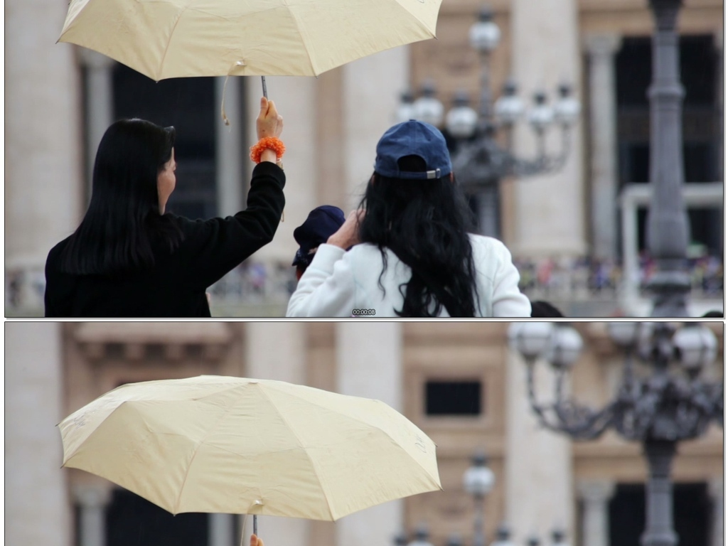 大街上撑伞的女人