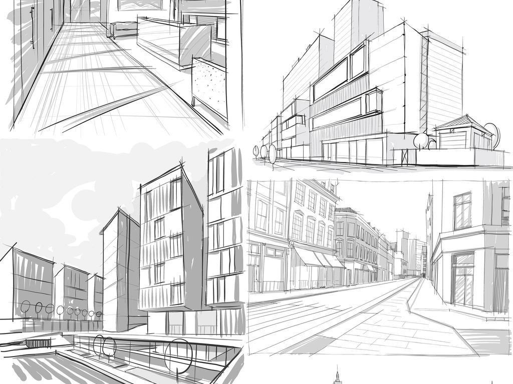 手绘建筑物房子房地产素材背景图片_ai模板下载(16.68