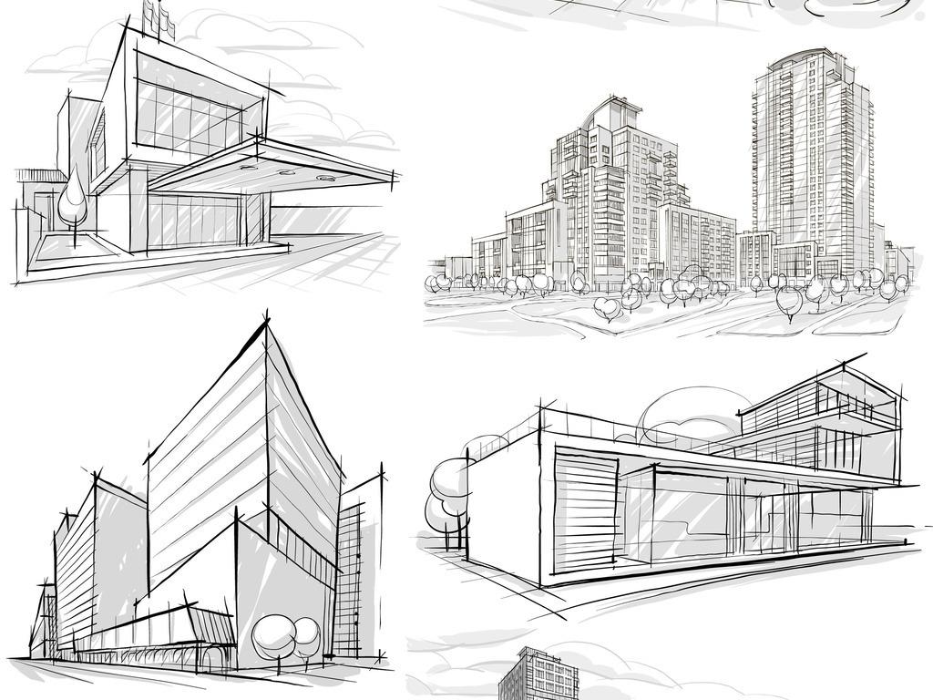 手绘建筑物房子房地产素材背景