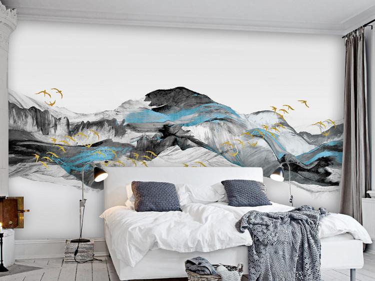 飞鸟新中式抽象蓝色意境山水电视背景墙