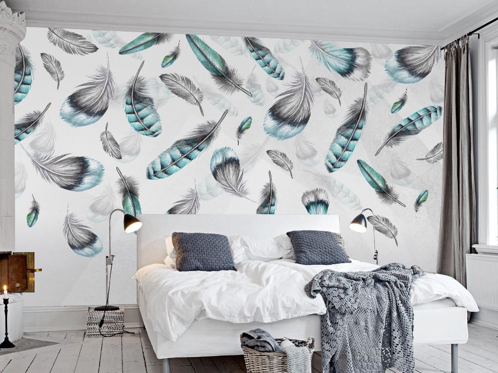 现代简约手绘羽毛飘落北欧个性客厅背景墙