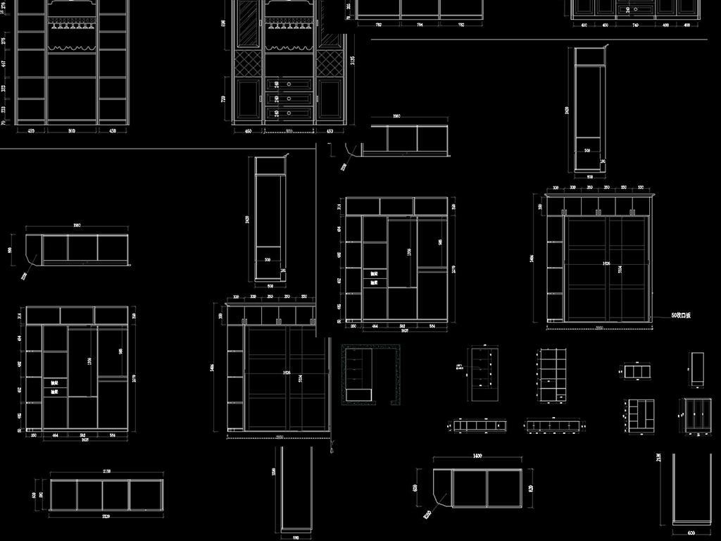 全屋方案CAD设计图整木柜子CAD图平面图下载 图片0.93MB 柜子图图片