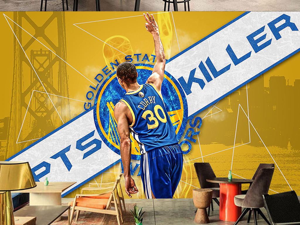 NBA勇士球星库里工装背景墙图片