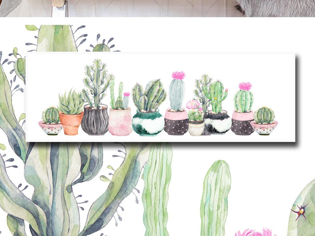 手绘水彩小清新植物盆栽仙人掌多肉床头画