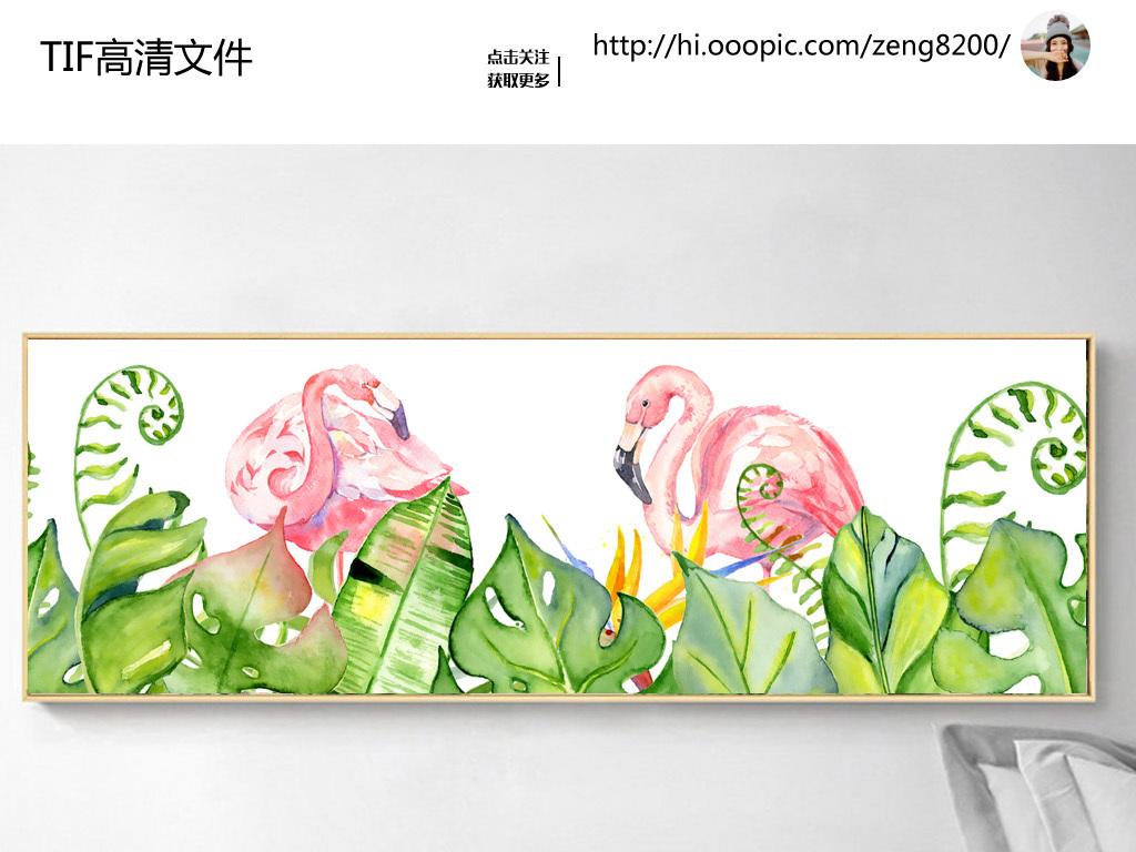 无框画 植物花卉无框画 > 北欧简约艺术手绘火烈鸟芭蕉叶植物无框画