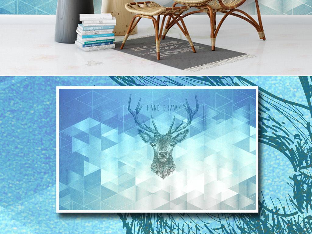 蓝色梦幻几何背景手绘鹿头现代北欧背景墙