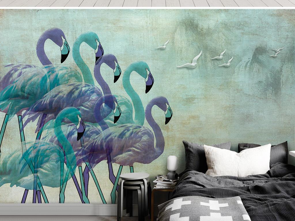 创意手绘彩色火烈鸟怀旧背景墙壁画