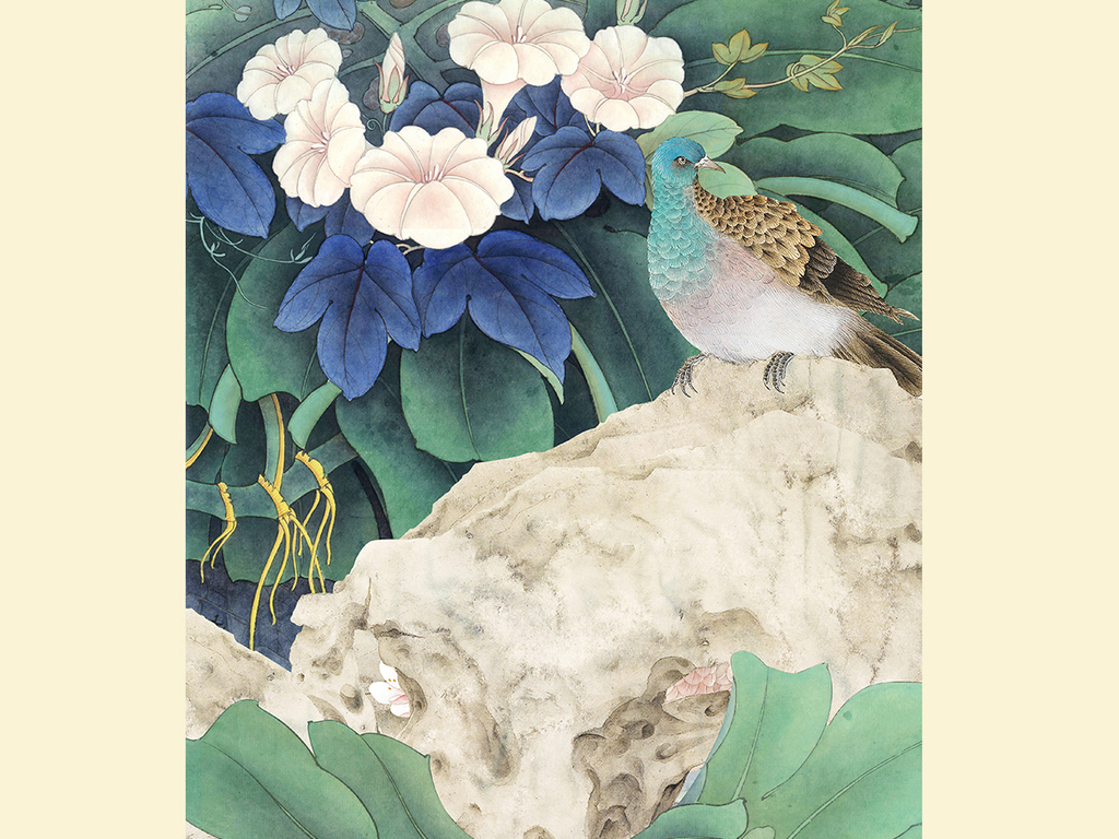 牵牛花手绘工笔花鸟新中式玄关背景墙装饰画