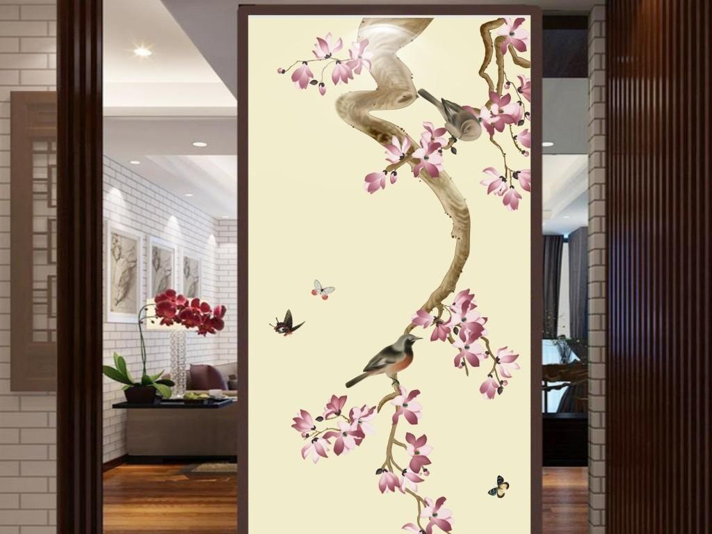 手绘玉兰花鸟工笔新中式玄关装饰画