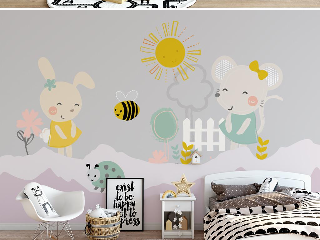 卡通兔子插画儿童房背景墙壁纸壁画
