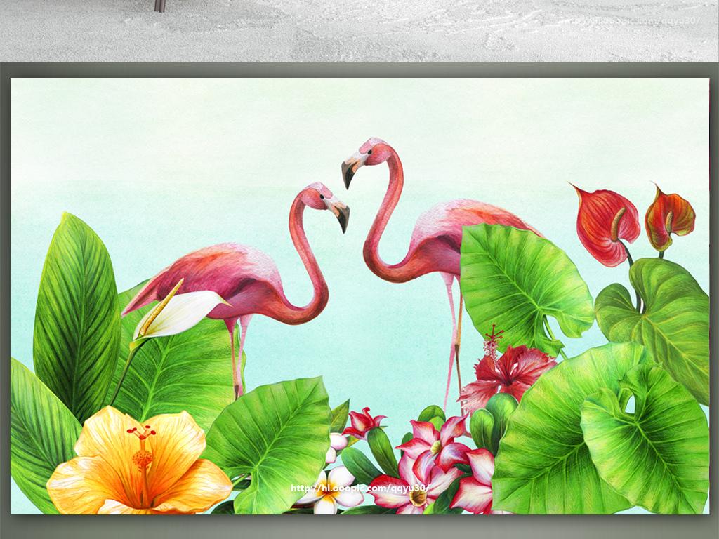 北欧小清新绿叶花卉火烈鸟手绘背景墙