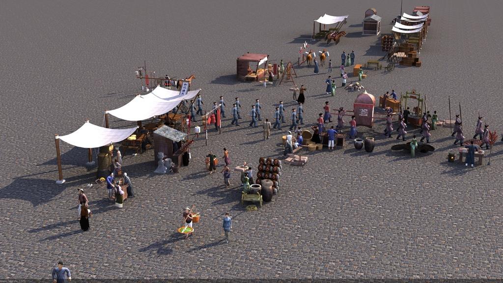 古代街道古代人物人群带动画
