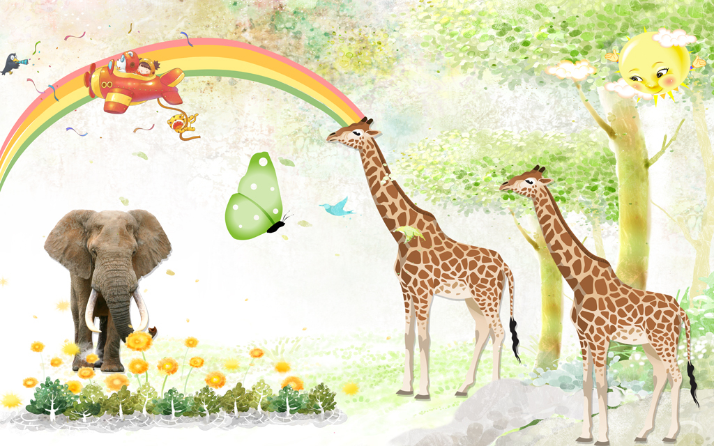 卡通长颈鹿动物乐园儿童房小孩房壁画墙画