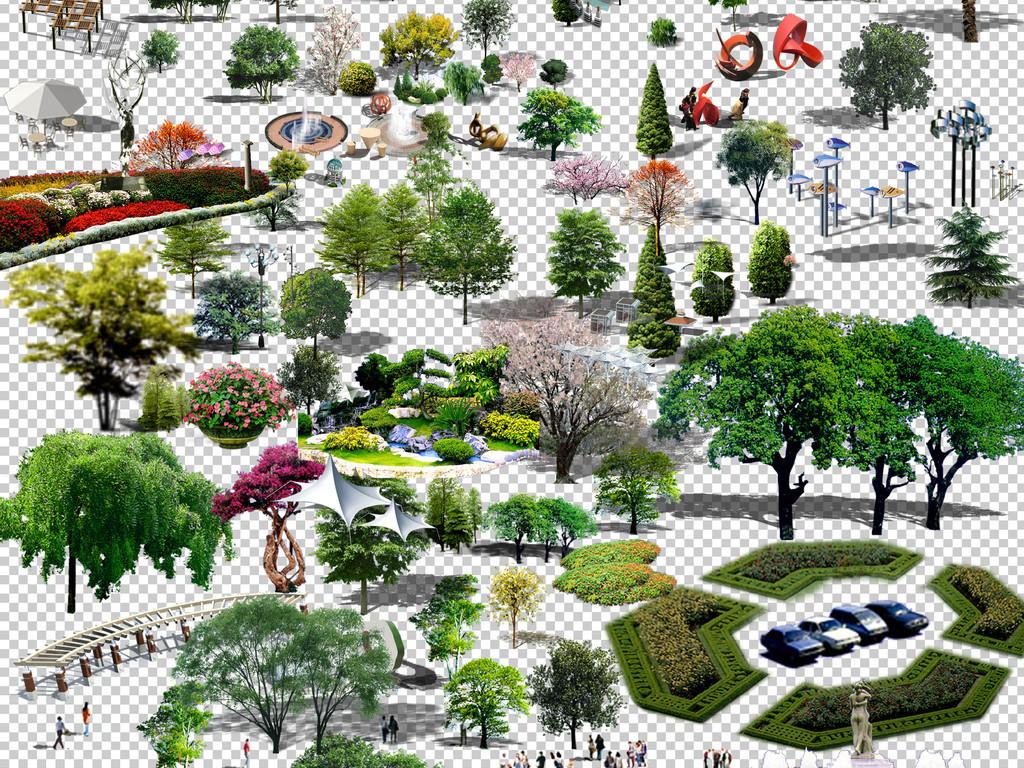 0273景观小区素材常用后期素材景观树木花坛各种免抠