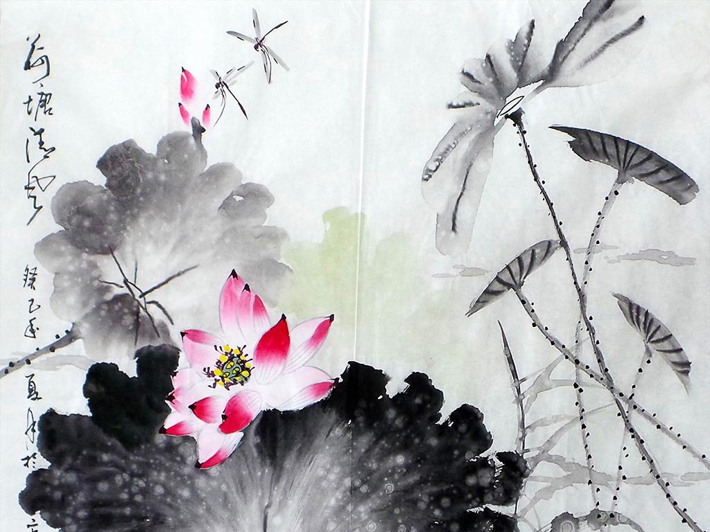 新中式禅意意境荷塘荷花无框装饰画图片