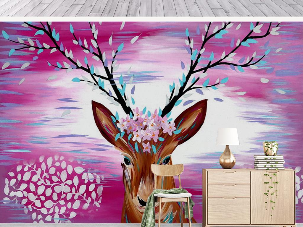 手绘水彩麋鹿梅花装饰画背景墙图片设计素材_高清模板