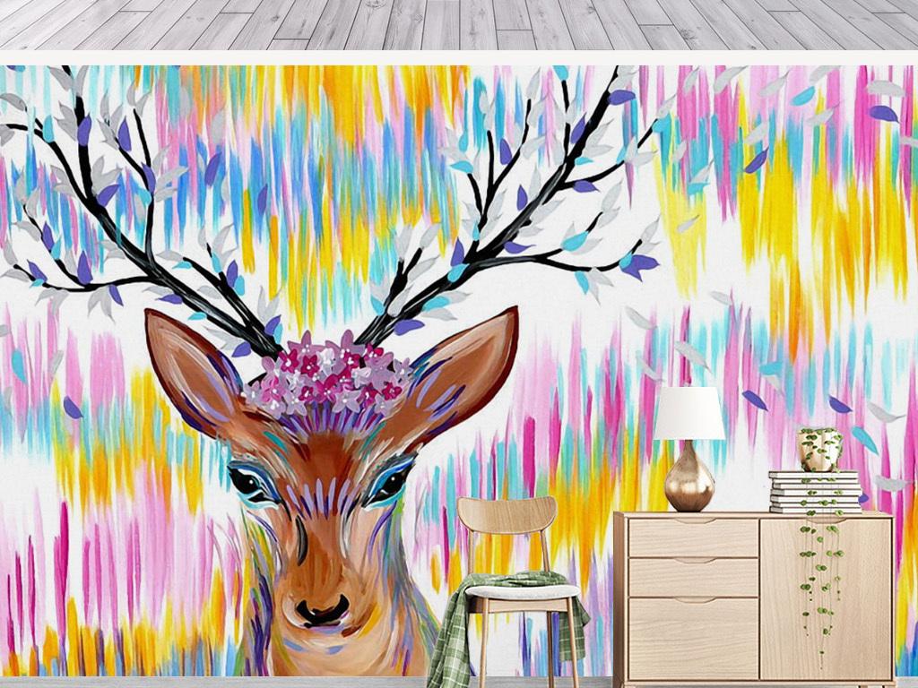 背景墙 电视背景墙 手绘电视背景墙 > 抽象水彩麋鹿鹿头装饰背景墙