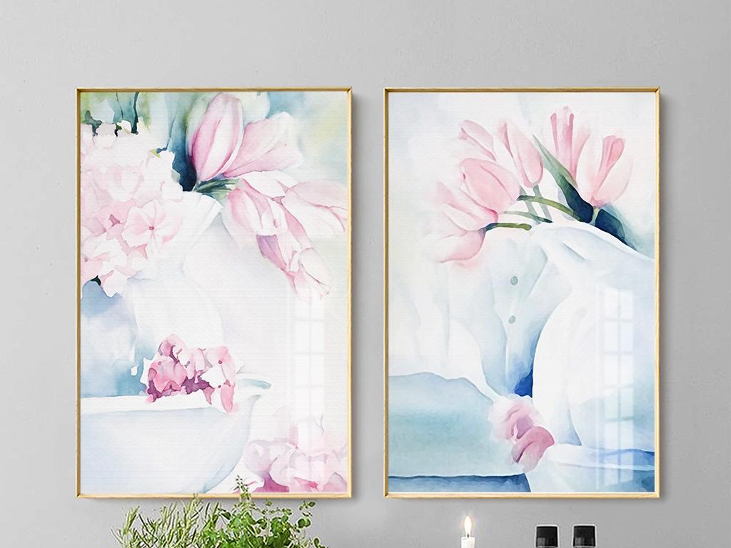北欧现代唯美手绘水彩粉色花艺无框画挂画