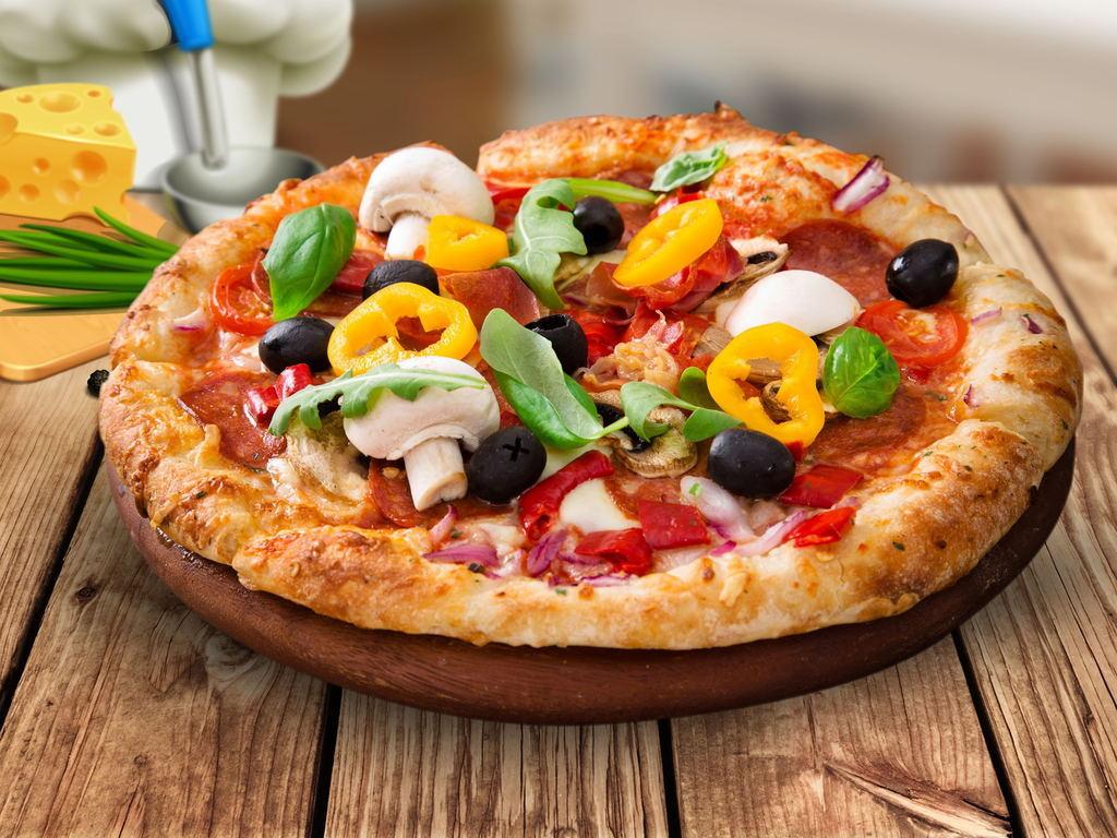 披萨手绘图片带颜色