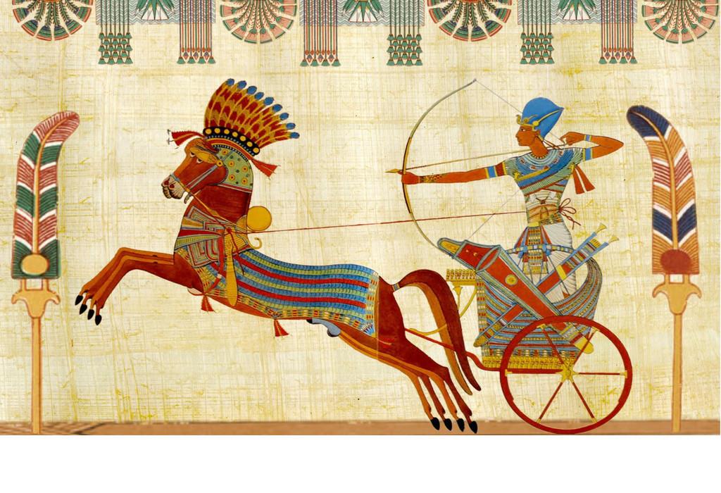 埃及法老壁画马车 17242386 电视背景墙图片