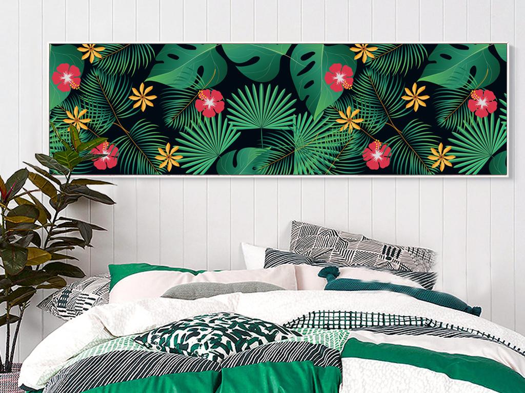 手绘水彩ins风格客厅植物床头装饰画挂画