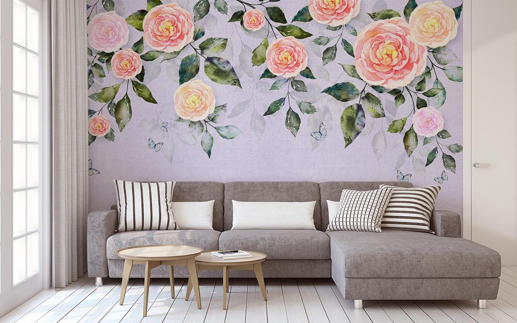 北欧清新绿叶山茶花手绘背景墙