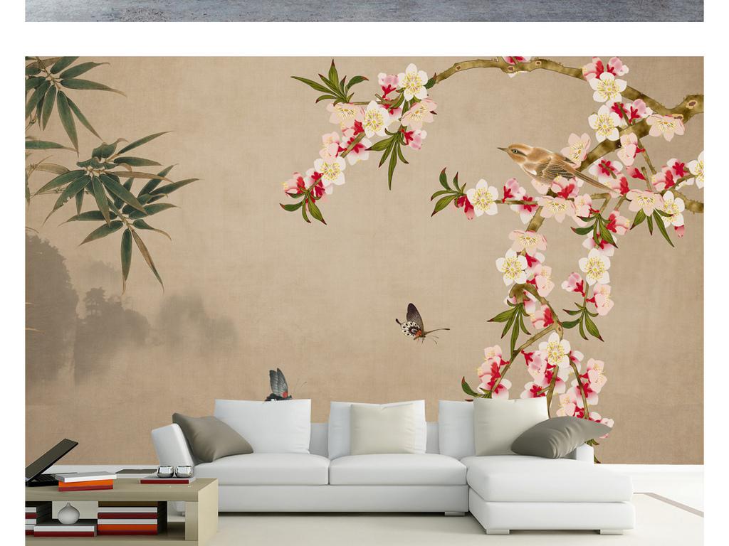 意境中式手绘水墨山水桃花花鸟装饰画背景墙