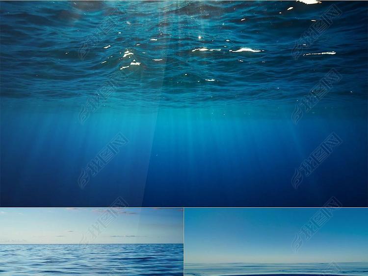 唯美平静海面海底阳光海天相接海水蓝色大海