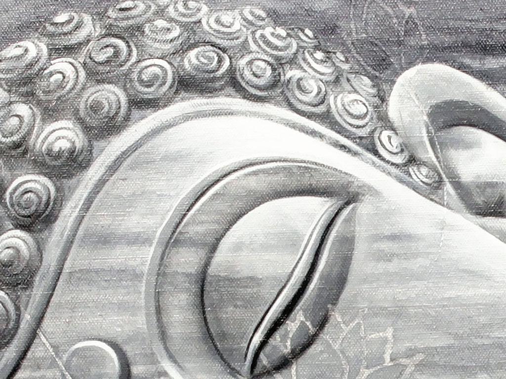 高清手绘黑白佛像佛首装饰画