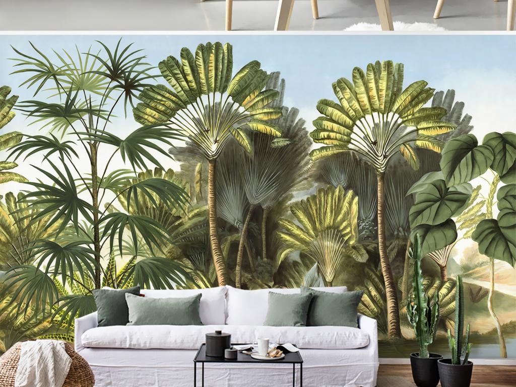 欧式手绘竹林芭蕉树热带雨林田园壁画背景墙