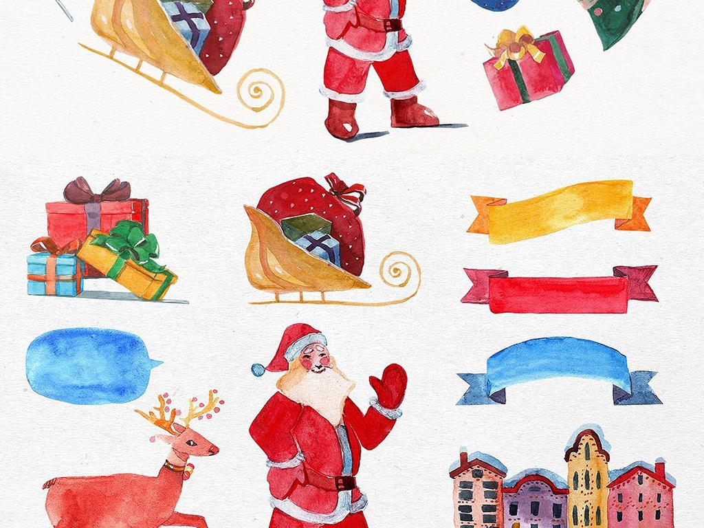 手绘卡通圣诞节免扣装饰图案矢量设计元素