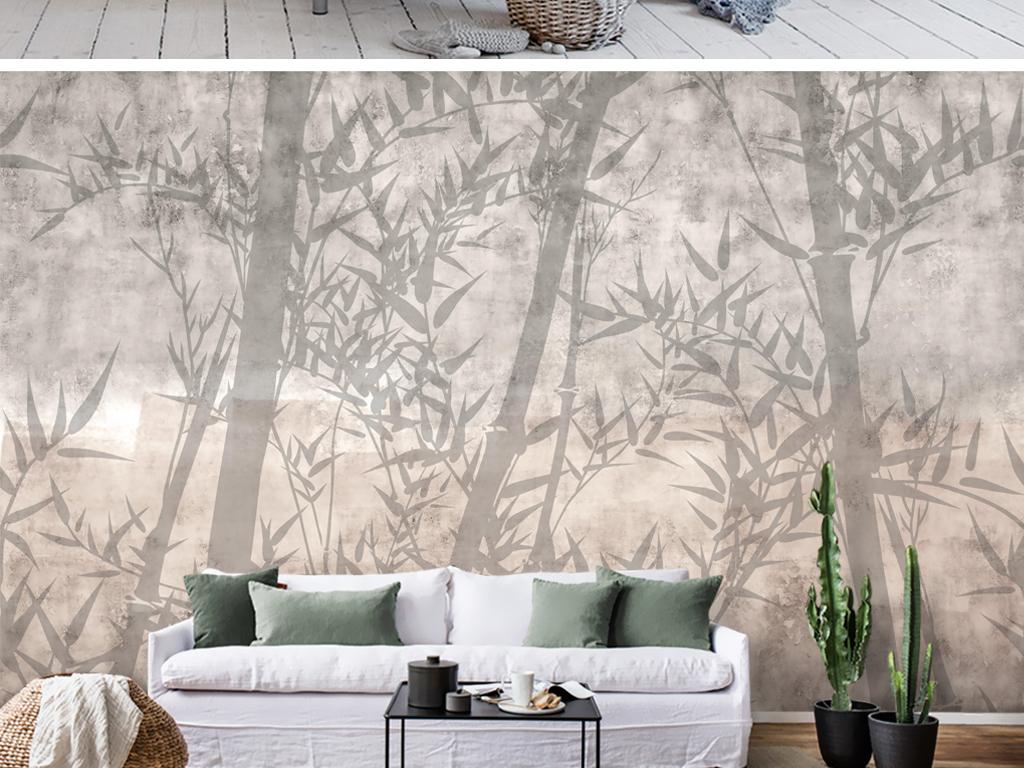 现代复古手绘新中式竹林竹子壁画电视背景墙