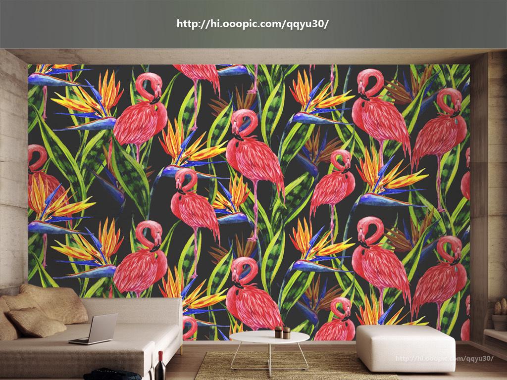 北欧植物绿叶花卉火烈鸟手绘背景墙