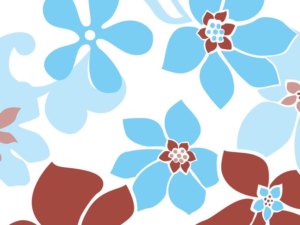 简单手绘蓝色花朵图案图片下载ai素材-植物花卉图案