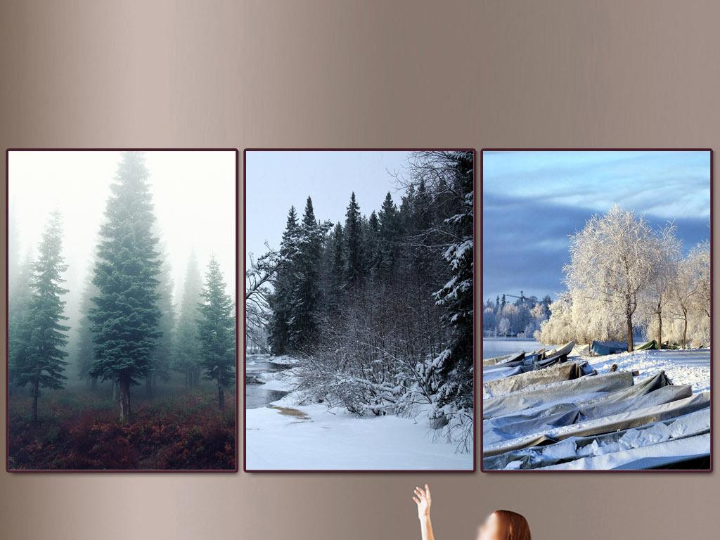 冬季装饰画水粉画-软件 : Photoshop CS4(.tif不分层)   颜色模式 : RGB   北欧新中式现代