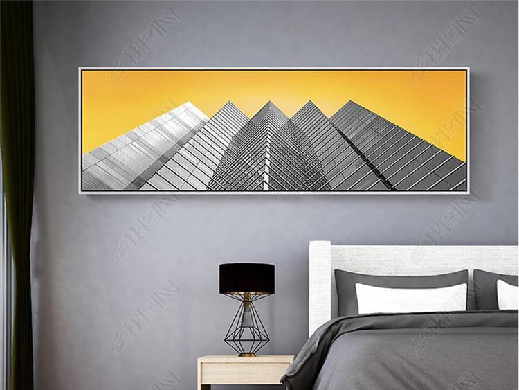 北欧现代金色天空黑白艺术横幅建筑装饰画