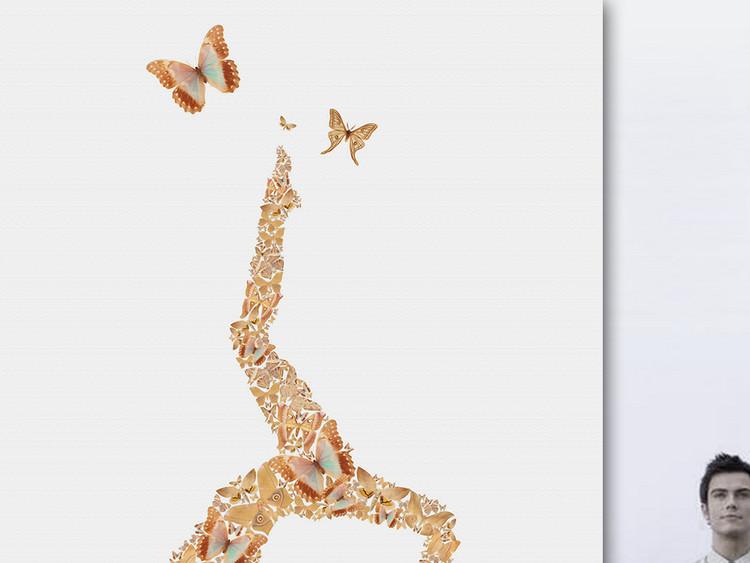 创意用绘蝴蝶瑜珈美女工装壁画