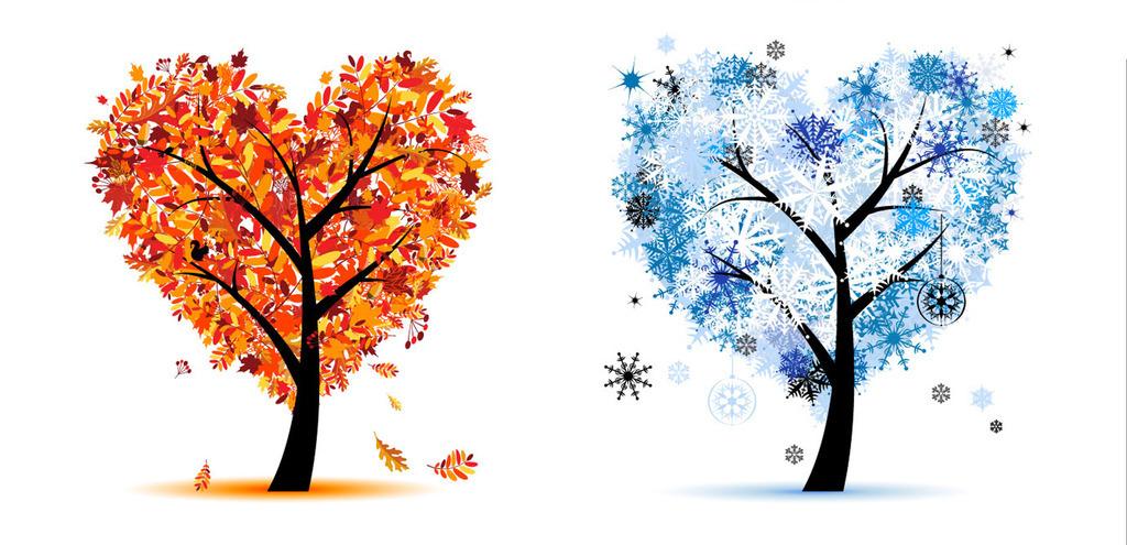 绿色树叶唯美爱心树创意海报手绘卡通素材